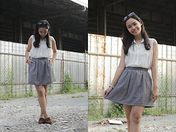 Carina Bailon - Sewn By Yours Truly Skirt, White Button Down Top, Bass Oxfords, Aldo Watch, Forever 21 Sunglasses - About Time