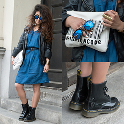 Diana Manolova - Dr. Martens Boots, Zara #Fashioncode Clutch, Stradivarius Denim Dress, Tally Weijl Leather Jacket, Blue Lens Sunglasses - I fell in love with Dr. Martens