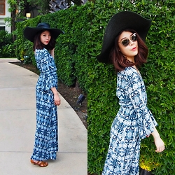 B @Style Voyage - Miu Sunglasses, Forever 21 Abstract Printed Maxi Dress, Diane Von Furstenberg Sandals - Weekend Spent