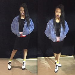 Tkeyah Grier - Forever 21 Midi Dresd, American Apparel Fanny Pack, Forever 21 Booties, H&M Socks, Thrifted Jacket - Bold