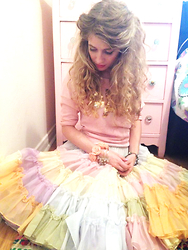 Danielle Somers - Unknown Vintage Pastel Multicolor Crinoline Petticoat, Unknown Pink Paris Sweater With Gold Sequins, Unknown Clover Crystal Cuff - Parisienne Pretty