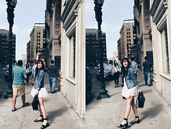 Phuong Nguyen - Dior Handbag, American Eagle Outfitters Denim Jacket, Zara Shoes, Zara Dress - Zoey's Day 12 - Happy Day