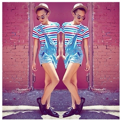 Von Erick - American Apparel Stripe Tee, Urban Outfitters Overalls Shorts, Forever 21 Patent Oxfords - BAE(BY) BOY