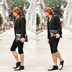 Philip Mak - Asos Two Tone Shoes, H&M Jogger Shorts, Bluesheroes Cropped Blazer, Hammer And Needle Clutch - Two Tone