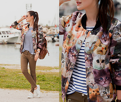 Viktoriya Sener - Mr. Gugu & Miss Go Cat Bomber Jacket, Zara Tee, Daniel Wellington Watches, Yargici Backpack, Zara Pants, Mango Trainers - CATS & BOATS