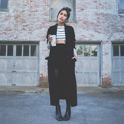 Kris S. - The Fifth Label Paperback Ls, Asos Duster Coat, Asos Mini Skirt, Shellys London Lovenia Black Leather Heeled Chelsea Boots - 0 5 0 4