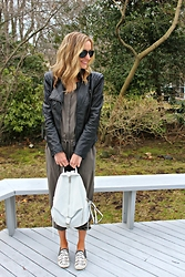 Michelle Orsi - Ray Ban Sunglasses, Blank Nyc Jacket, Express Jumpsuit, Rebecca Minkoff Backpack, Sam Edelman Sneakers - Slip on