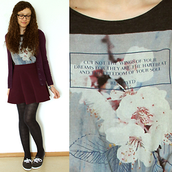 Sabrina X - Pimkie Cardigan, H&M Skater Skirt, Primark Shoes, Reserved Floral And Typography Print Shirt - .0009