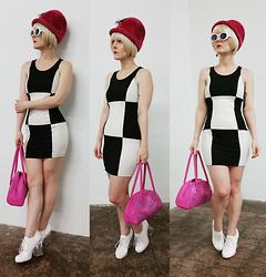 Suzi West - Chesterfield Original Vintage 1960s Fashion Hat, Forever Young Bob Wig, Mypartyshirt.Com Kurt Cobain Sunglasses, Shantel Niblock Mod Checker Earrings, Soprano Color Block Twiggy Mod Shift Dress, Thrift Store Vinyl Purse, Jeffrey Campbell Bravery - 02 May 2015