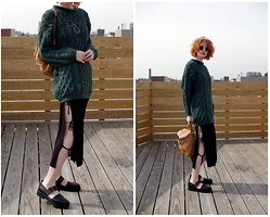Claire Geist - Vintage Ye Olde Sweater, Rebecca Minkoff Backpack, Cheap Monday Strap Dress, Vagabond Strappy Shoes, Ray Ban 3447s - Fascinating