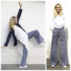 Emma Easton - Asos Pantalon Large Avec Ceinture, Asos Pull Abandon The Plan, Asos Blazer Bleu Marine, Reebok Classique - DIFFERENT OPTIONS