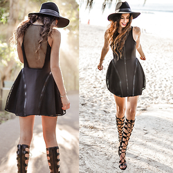 Elle-May Leckenby - Neoprene Dress, Fighter Gladiator Heel, Hideaway Panama Hat - Time will tell