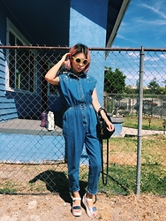 Haruna Yokota - Vintage Denim Overall, Topshop Silver Sandals, Urban Outfitters Yellow Sunnies, Saint Laurent Shoulder Bag - Denim
