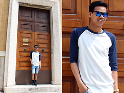 Makara Nhang - H&M Shades, Jack & Jones Raglan T, Bershka Denim Shorts, River Island Socks, Pull & Bear Hair Textured Slip Ons, Regal Watch - Shades Of Blue.