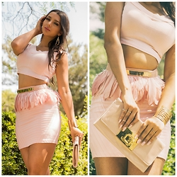 Kristina Byrne - Bebe Belt, Bershka Skirt, Studio F Clutch Bag - My Pink Love