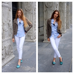 Eugenies - H&M Blouse, Zara Trousers, Charles Philip Shoes, Iro Leather Jacket - Basic