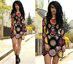 Tessa Diamondly - Glad Rags Crochet Rainbow Dress, Urban Outfitters Vagabond Boots - Crochet Rainbow.
