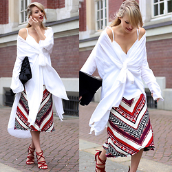 Leonie Hanne - Skirt, Heels, Bow Blouse, Clutch, Top - Draped Whites | ohhcouture.com