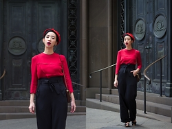 Nora Finds - Raleigh Vintage 1940s Top, Collectif Clothing 1940s Style Judith Trousers - 1940s Red