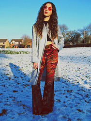 Jess A - Miracle Eye Velvet Flares, H&M Red Sunnies, Vintage Silver Shirt, Ebay Roll Neck Crop Top - Snow Miracle