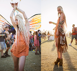 Sarah Loven - Lisa's Closet Byron Bay Dress, Free People Strappy Bra, Gypsy Soul Fringe Bag, Floggs Heels - Music Festival