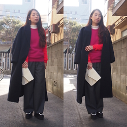 Yu Kuwabara - G.V.G.V. Wool Maxi Long Coat, Sophie Hulme Gold Plate Two Tone Jumper, G.V.G.V. Tailored Wide Leg Trousers, J.W.Anderson Bi Color Platform Moccasins, Dholic Leather Clutch, Emoda High Neck Top - Contrast