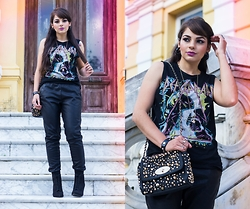 Camilla Marques -  - Faux Leather Joggers & Def Leppard Shirt