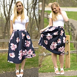 Rachel @Rachel's Lookbook - Romwe Midi Skirt, Heartbreakers Crop Top, Moddeals Heels - Floral Midi Skirt