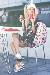 Krist Elle - Theyub Shop Food Print Suit, Theyub Shop Food Printed Backpack - TASTY LOOK