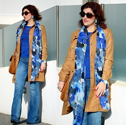 Teresa Leite - Tany Couture Self Made Faux Suede Coat, Zara Floral Print Blue Scarf (Old), Mango Striped See Trough Cobalt Blue Top (Old), Mango Flared Blue Jeans (Old), Parfois Suede Messenger Bag - Blue Seventies (self-made suede coat)