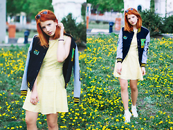 Vlada Kozachyshche - Pull & Bear Glasses, Rockfellow Kneu Bomber, Zara Dress, Converse Shoes - Dandelions Field