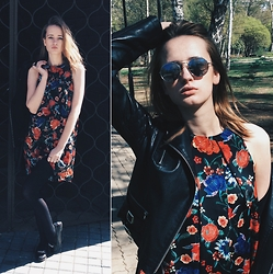 Kseniya Kaftaylova - Mango Flower Dress, Topshop Leather Jackets(Moto), New Look Loafers - MOTO OR FLOWERS? ALL!