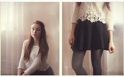 Marie M. - H&M Crop Lace Blouse, Black Skirt - Soft moonlight