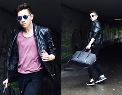 Frank Lin - Zara Leather Jacket, Topman Tanktop, Imperial Black Pants, Kenzo Sneakers - Petrol in water