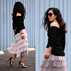 Hallie S. - Zara Off The Shoulder Top, H&M Fringe Skirt, Stuart Weitzman Heeled Sandals - Cold Shoulder