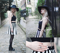Angéline - All Saints Black Top, Mannaz Rune Ring, Fashionology Necklace, Asos Striped Skirt - Monochromatic Day