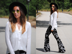Claudia Villanueva - H&M Hat, Dresslink Sunglasses, Zara Blouse, Asos Pants - Palm Trees