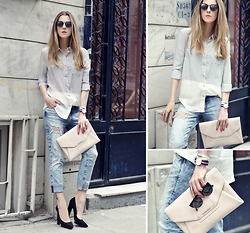 Katerina Kraynova - Oasap Blouse, Daniel Wellington Watch, Sheinside Sunglasses, Mavi Jeans - STRIPED