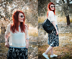 Sandra N - Topshop Printed Culottes, Zara Leather Sneakers - In the olive tree garden