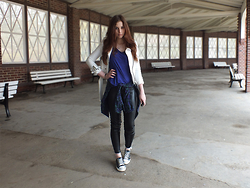 OH ANNE (BLOGGER) - New Yorker Jacket, H&M Tshirt, Carhartt Checked Shirt, New Yorker Pu Pants, Jepo.De Sneaker - PURPLE & CHECKED SHIRT