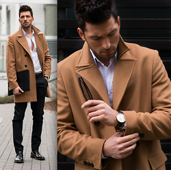 RAFAL MASLAK - Mills Coat, Pawo Shirt, Zara Trousers, Kazar Shoes, Daniel Wellington Watch, Ray Ban Sunglasses, Zara Briefcase - TOTAL LOOK #50