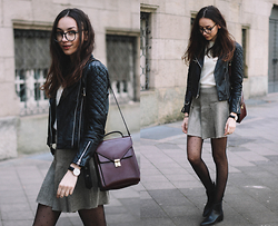 Bea G - Leather Jacket, Top, Skirt, Boots, Bag - Back to School