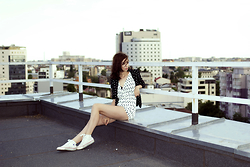 Gabriella Kovari - Style Moi Playsuit, Converse Trainers, Terranova Polka Dot Jacket - Rooftops and sunsets