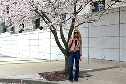 Jade Taylor-Allred - Frame Denim Flares, Zara Coat, For Love & Lemons Blouse, Alexander Wang Shoulder Bag, Zara Sandals, Celine Wayfarers - Blossoming
