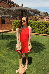 Margot Guilbert - Mango Red Dress, Costes Fringed Jacket, Zign Bucket Bag, Asos Scalloped Ballerinas - Red & Nudes