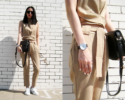 Visa Lom - Twinkledeals Khaki Crop Top + Lace Up Ankle Pants Twinset, Jollychic Solid Candy Color Squared Shape Shoulder Bag, Quartz Wrist Watch - Khaki Twinset
