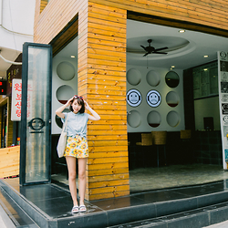 Kennie Cheng - American Apparel Sunflower Pants, Dickies Denim Shirt, Zara Slippers - SUNSHINE GIRL