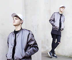 James T - Ebay Baseball Cap, H&M Bomber, New Look Longline Black, Primark Diy Ripped Jeans, New Look Monochrome Trainers - MALCONTENT