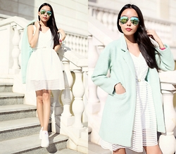 Aibina Yeshkeyeva - Sheinside Dress, Sheinside Mint Coat - THE AROMA OF MINT