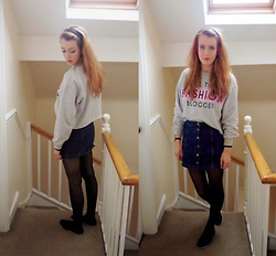 Anna C - River Island Sweater, H&M Headband, Topshop Button Up Skirt, Primark Pumps - Button up blogger